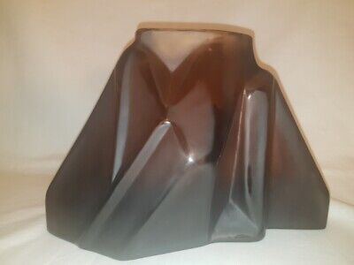 Rare Stylized Czech Cubism Hand Cut  Glass Vase by Moser 1920s