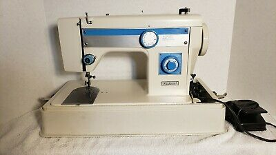 Vintage Fleetwood 7100 Sewing Machine with Case (Blue & White)