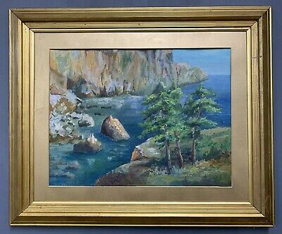 Large Antique French Oil On Board Painting In Gold Gilt Frame, Signed
