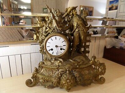 "Very Unusual Antique Brass ?? Mantle Clock With Enamel Dial, 14"" High & 15"" Wide"