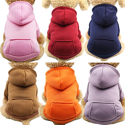 Pet Dog Hoodie Sweater Jumper Coat Plain Warm Dogs Clothes Puppy Apparel Costume