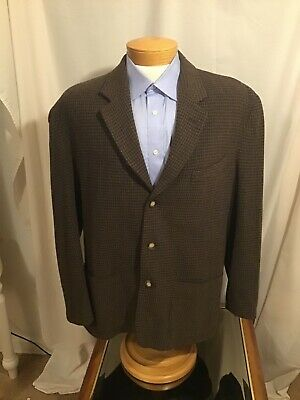 Structure L Brown Houndstooth 3-B Tweed Suit Jacket Italian Le Collezioni Mens