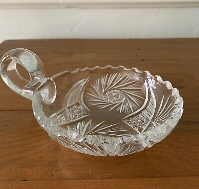 "American Brilliant Period Cut Glass 5"" Pinwheel Star Nappy Handle Dish"