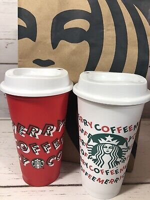 "Starbucks 2019 Reusable Hot Cups 16 FL OZ One Red  and One White ""Merry Coffee"""