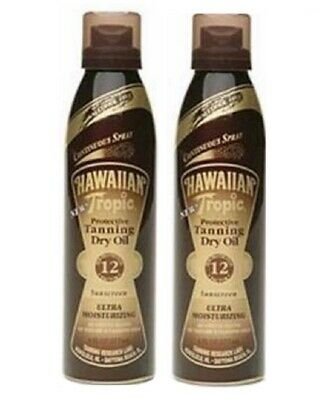 2 Original Hawaiian Tropic Tanning Dry Oil Sunscreen Spray Spf 12 Free Shipping