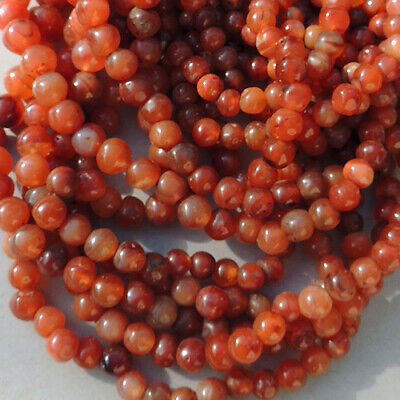 a strand of old antique carnelian agate african stone beads mali #4110