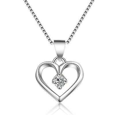 Heart Charm Crystal Pendant 925 Sterling Silver Chain Necklace Womens Jewellery