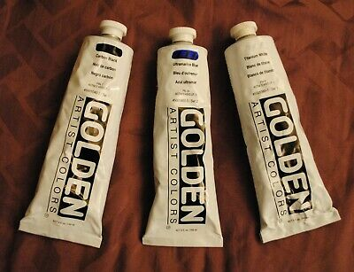 🎨LOT Of 3 LARGE (5 oz) Golden Acrylic Heavy Body Paint Tubes🎨