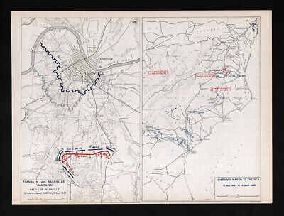 West Point Map - US Civil War - Franklin & Nashville - Sherman's March Savannah