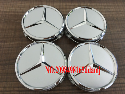 4x Mercedes Silver Alloy Wheel Centre Hub Caps 75mm A B C E S M Class ML CLA GLA
