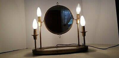 Vintage Art Deco Candlabra Penetray Vanity Magnifying Lighted Makeup Mirror