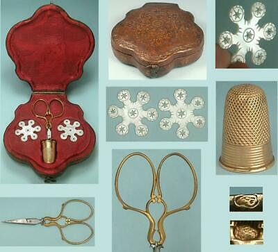 Adorable Antique Cased French Sewing Set w/ 18 Kt Gold Thimble * Circa 1838