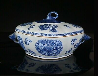 VLARGE Chinese Antique Blue and White Porcelain Tureen & Cover Lotus Handles 18C