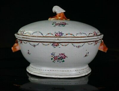LARGE Antique Chinese Export Famille Rose Porcelain Tureen & Cover QIANLONG 18 C