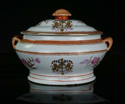 LARGE Antique Samson Famille Rose Porcelain Chinese Styl ARMORIAL Tureen & Cover