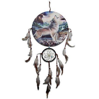 30cm Diameter Canvas Native American Artwork Howling Wolf and Eagle Dreamcatcher