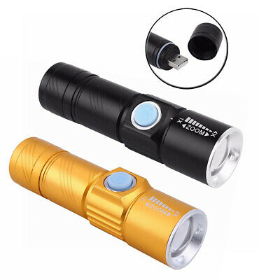 Mini USB Rechargeable Q5 LED Flashlight 3 Mode Zoom Zoomable Light Torch Lamp