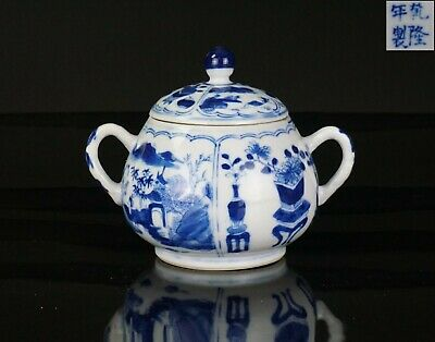 FINE Antique Chinese Blue and White Porcelain Pot and Lid QIANLONG Mark 19th C