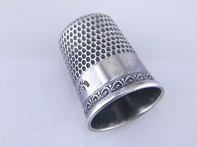 Antique Sterling Silver Thimble Vintage Sewing Notion Sz 9