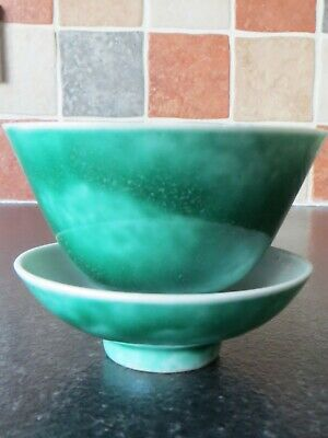 Chinese Porcelain Mottled Green Tea Bowl / Wine Cup And Dish, Vintage, In Vgc