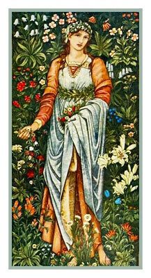Burne-Jones and William Morris Flora Maiden Counted Cross Stitch Chart Pattern