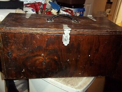 Large Vintage Handmade Wood Wooden Tool Box Storage Chest With Stability Ledge