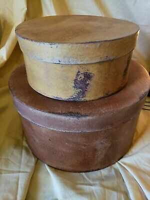 Large Set of Two Primitive Round Grubby Brown Pantry Boxes Folk Art Decor