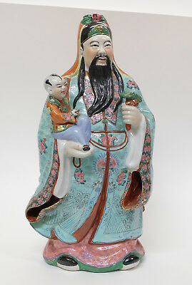 """Big 23"""" Antique Vintage Chinese Porcelain Figure Statue of a Wise Man """"Lu"""""""