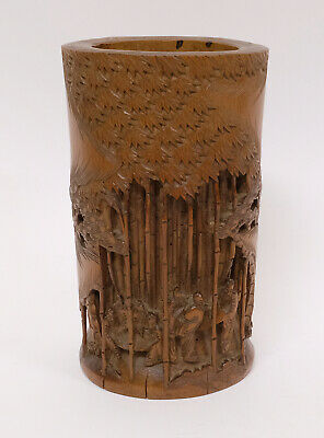 Beautiful Antique Chinese Very Well Carved Bamboo Wooden Brush Pot