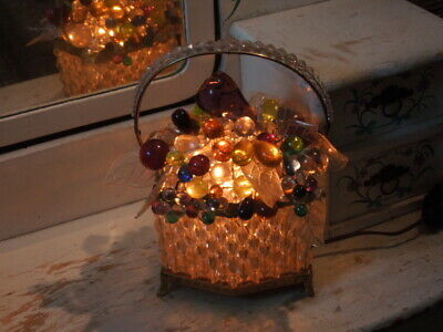 Unusual ViNTaGe CZECH GLASS FRUIT LAMP Grapes PEAR Leaves CHERRY