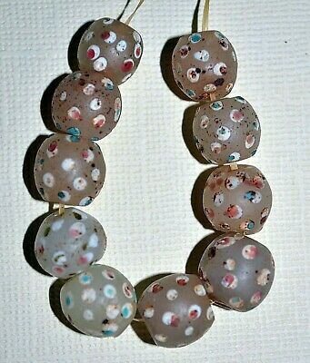 Antique Venetian White Lampwork Skunk Trail Decorated Eye Beads, African Trade