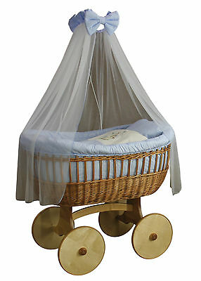 Wicker Crib Moses Basket OPHELIA Uno Blue (Cot Bed)  MJMARK