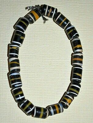 Antique Venetian Small Black Glass Beads W/ White & Yellow Stripes African Trade