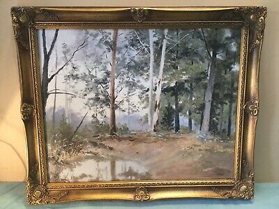 Artist Nouza Bush Scene Framed Oil Painting