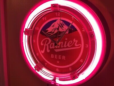 Rainier Washington Seattle Beer Bar Advertising Man Cave Neon Wall Clock Sign