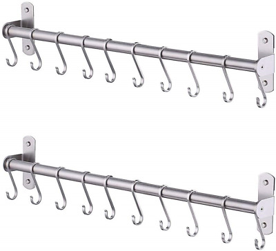 KES Kitchen Tool and Utensil Rack with 10 Hooks Multipurpose 22-Inch Wall Mounte