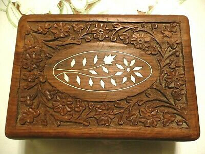 Antique Vintage Wooden Hand Carved Flower Jewelry / Trinket Secret Treasure Box