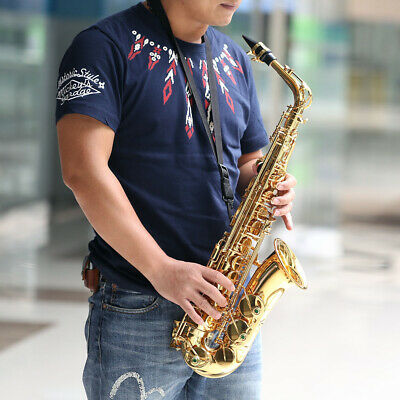 Professional Alto Eb Saxophone Gold E Flat Sax with Gloves Strap Carry Case V0Y3