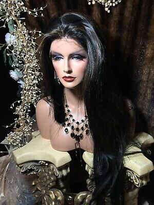 Beautiful, Whole Lace,Black W/Red Streaks Human Hair Blend, Lace Front Wig!