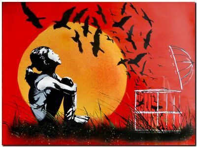 "BANKSY STREET ART CANVAS PRINT Birds released Sunset Stencil 24""X 16"" poster"