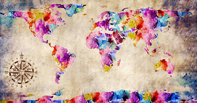 "World Map Modern Grunge Watercolor Abstract Art CANVAS PRINT 24""X16"" #1"