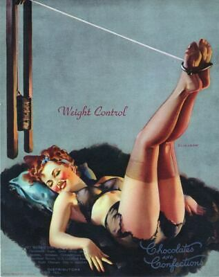 "RETRO PINUP GIRL CANVAS PRINT 24X16"" Poster Gil Elvgren Weight Control"