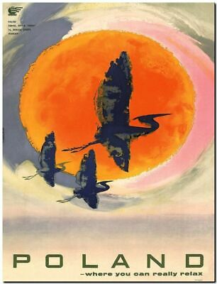 "Vintage Illustrated Travel Poster CANVAS PRINT Poland Birds Sunset 36""x24"""