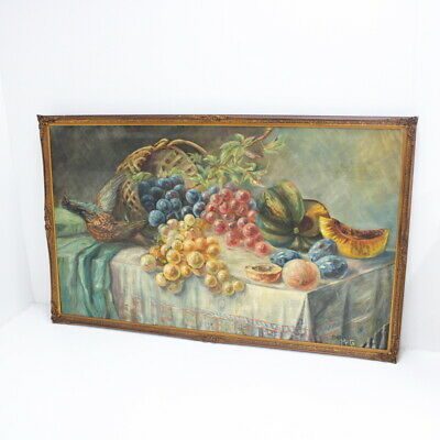 Vintage 1949 Untitled Still Life Oil Painting Dead Fowl Fruit Signed MPG #405