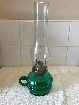 victorian oil lamp, green hand blown base. 35cm tall.