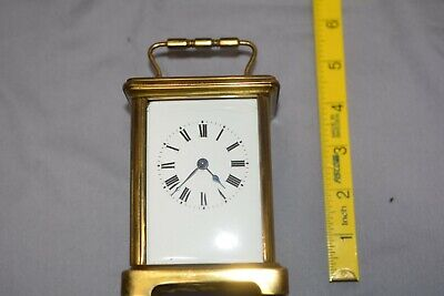 Antique CARRIAGE CLOCK. Enamel dial. Working.