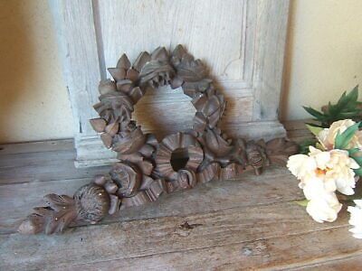 Antique French CARVED ROSES  RIBBON WOOD.  ARCHITECTURAL Salvage PEDIMENT 19Th
