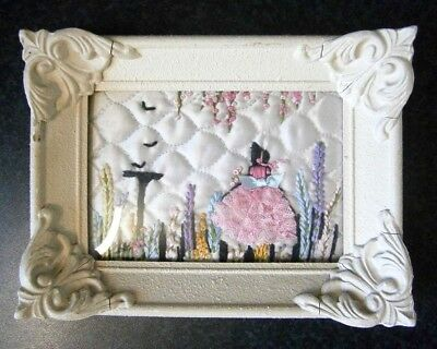 ANTIQUE VINTAGE HAND EMBROIDERED PINK LACE CRINOLINE LADY PICTURE in Cream Frame