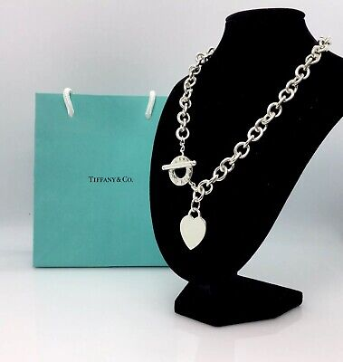 "Authentic-Tiffany & Co. Heart Tag Toggle Necklace 16"" Engravable"