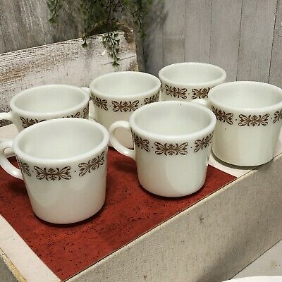 6 Vintage Pyrex Copper Filigree Milk Glass Coffee Cups Mugs Vintage